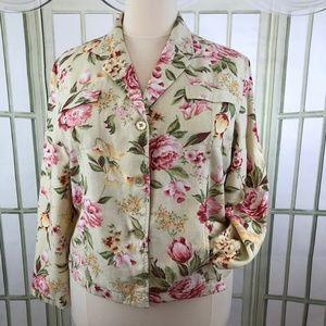 Linen Floral Waist Length Top Bomber Jacket